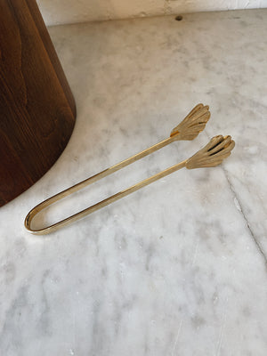 Golden Scalloped Ice Tongs