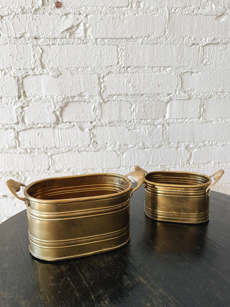 1980s Solid Indian Brass Stackable Planters