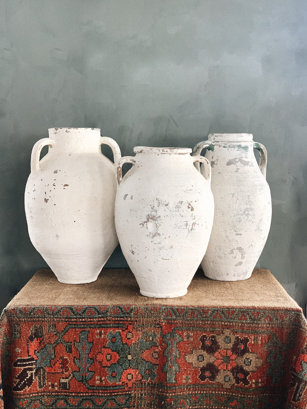 White Washed Turkish Olive Jars