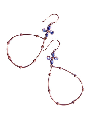 Tanzanite Hoop Earrings in Rose Gold