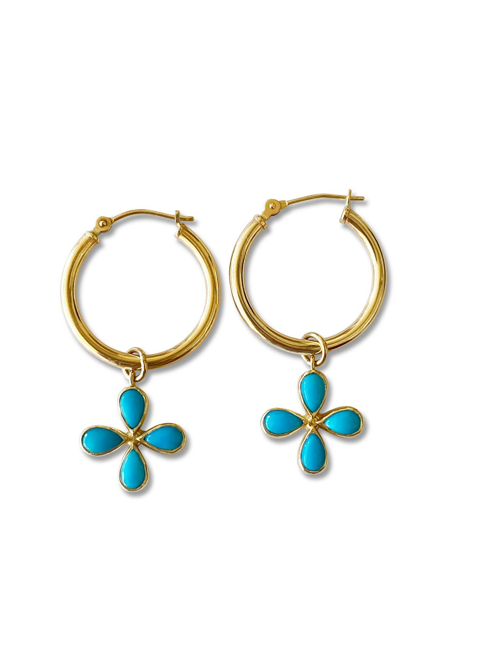 Turquoise Flower Hoop Earrings