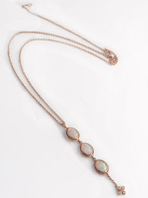 Antique inspired 18k rose gold 3 Stone Lariat available for special order