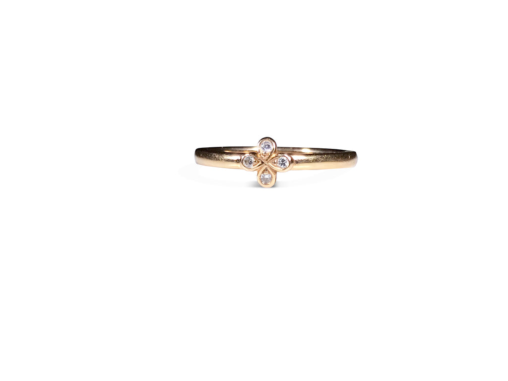 Oli and Tess Logo Ring Yellow with Signature Oli and Tess diamond flower. Great Stacking Ring!