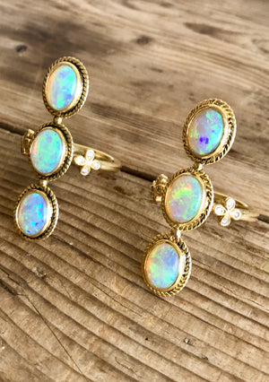 Back in Stock!  Three Stone Opal and Diamond Cocktail Ring