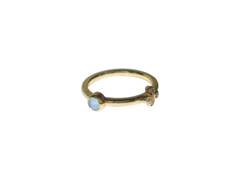 Bright green Australian Opal stacking ring with 1 Oli and Tess diamond flower-SAMPLE SALE