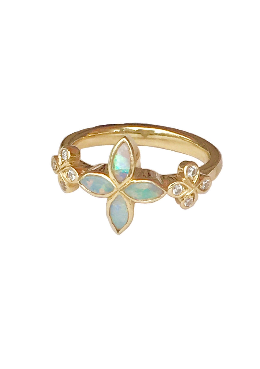 Australian Opal and Diamond Flower Ring