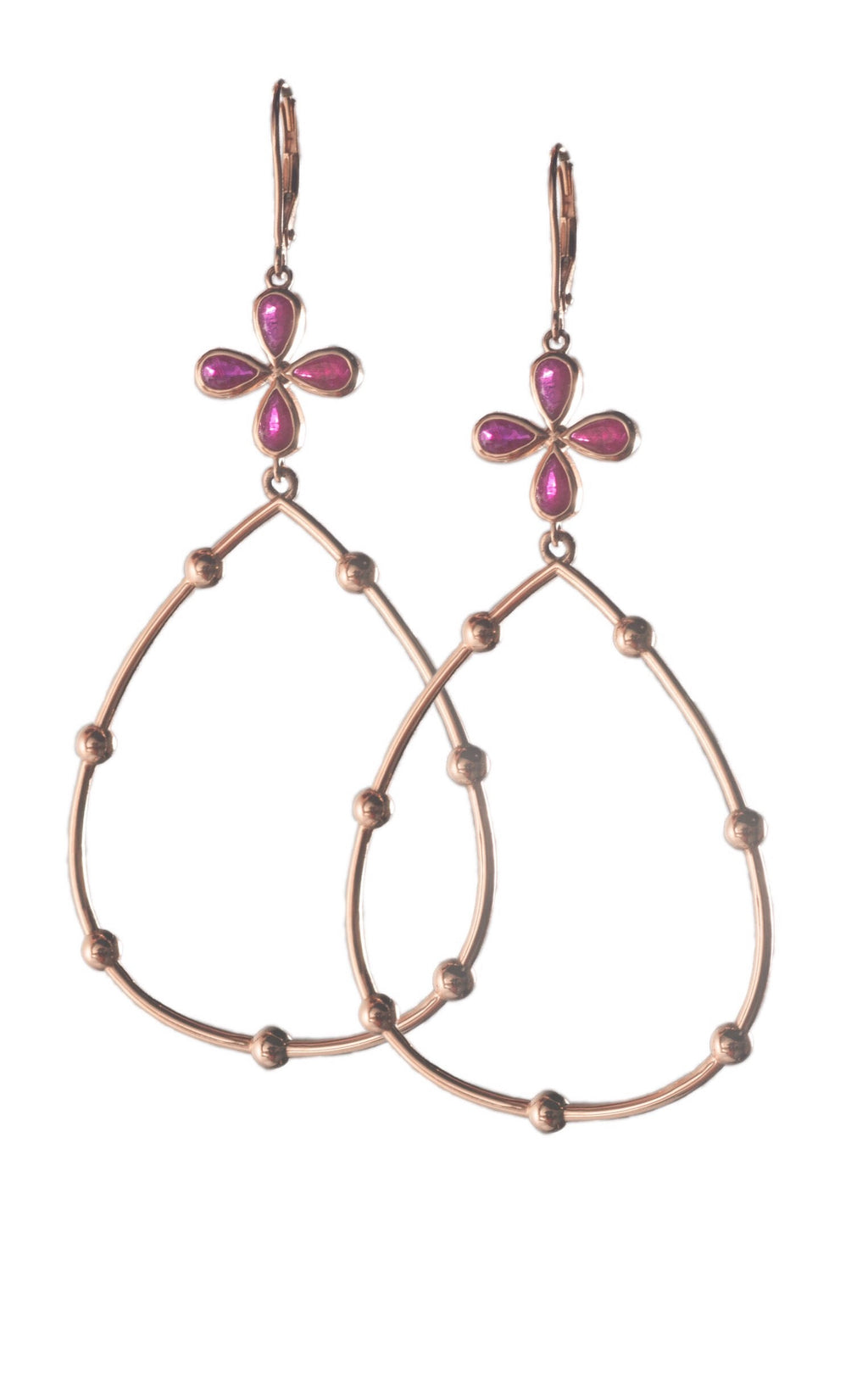 Ruby Hoop Earrings set in 14k Rose Gold