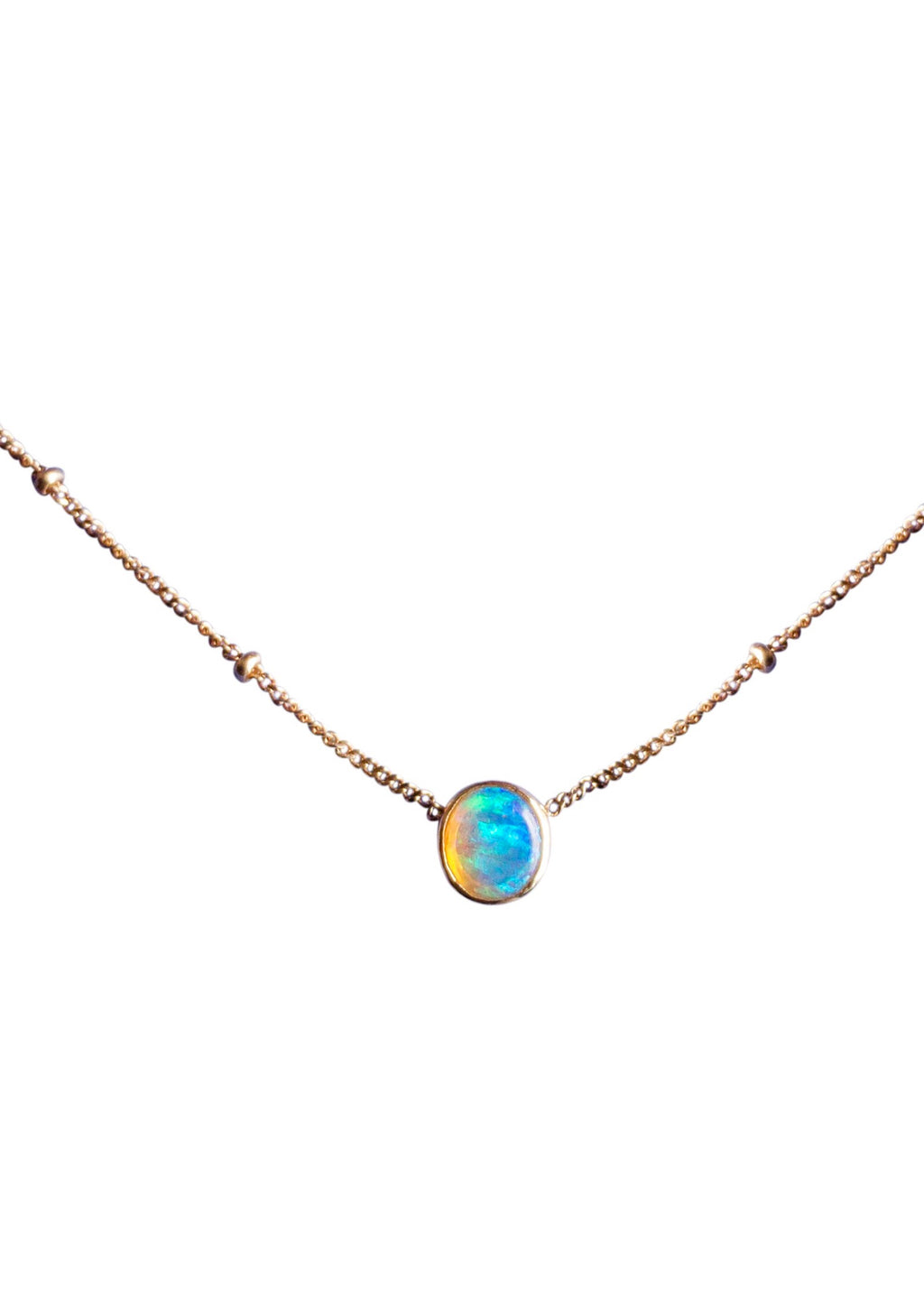 Bright Australian Opal Solitaire Necklace