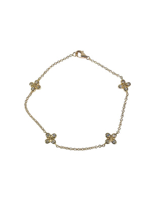 Oli and Tess diamond flower bracelet in 18k gold