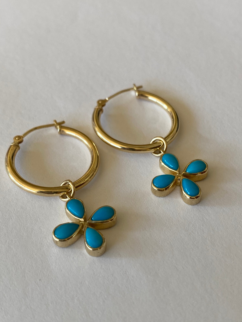 Turquoise Flower Hoop Earrings- Available for special order