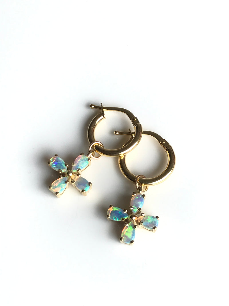 Rose Gold, Opal Flower Hoop Earrings- SPECIAL ORDER