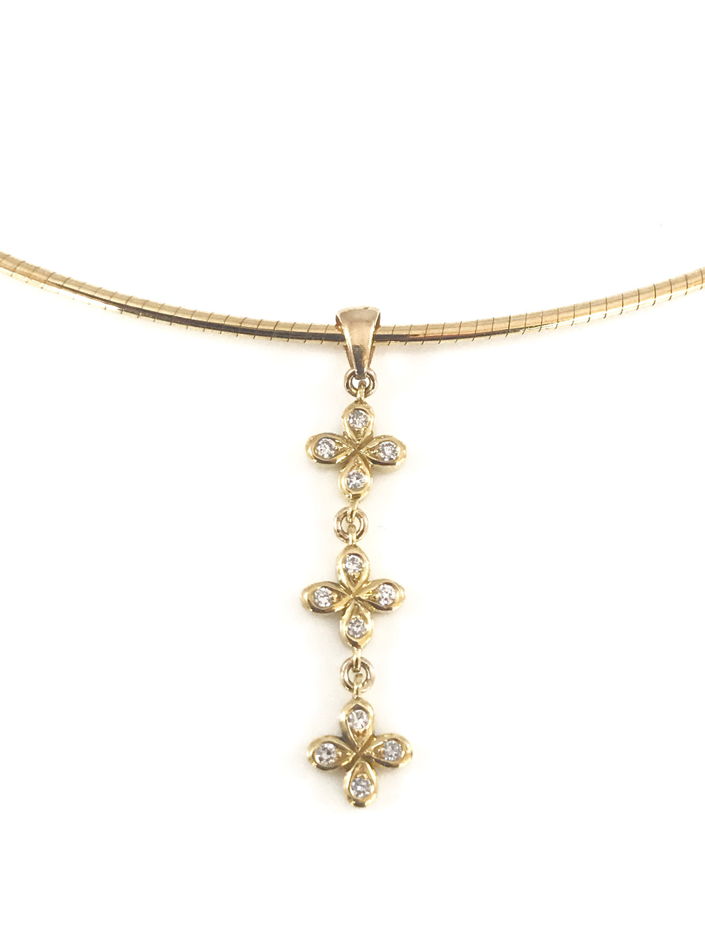 Elegant 18k Diamond Pendant Necklace with Omega Chain