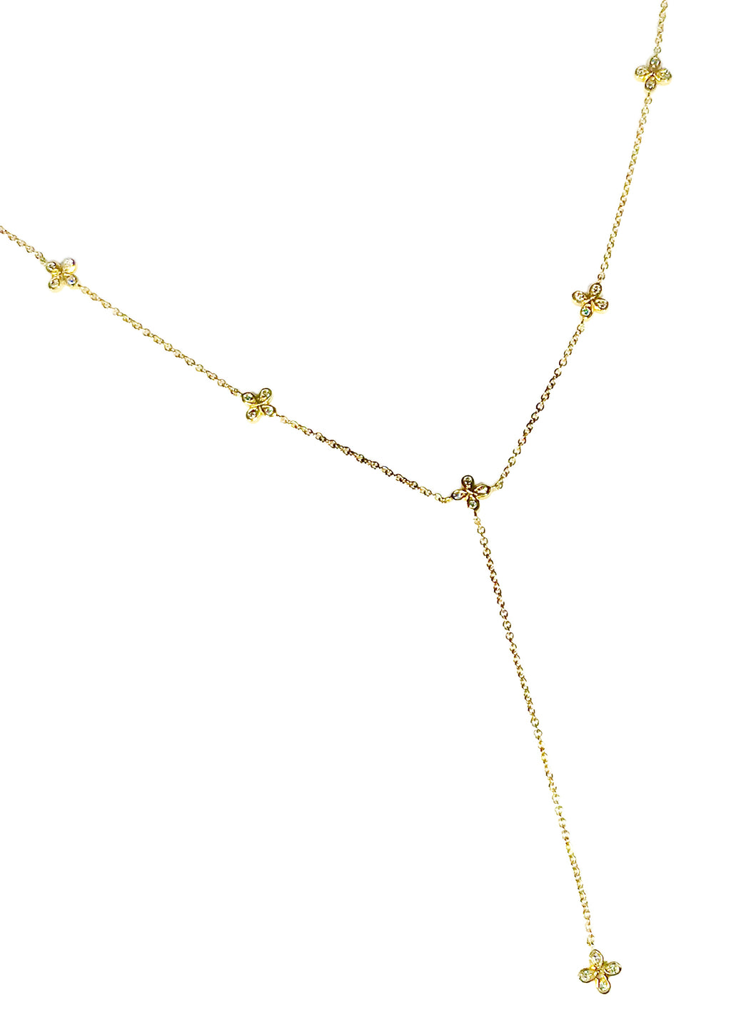 Adjustable 18k Diamond Lariat Necklace