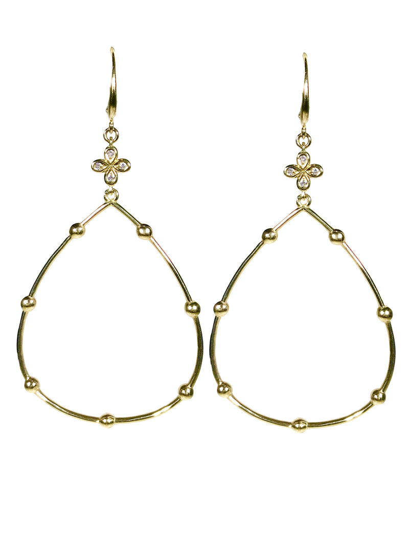 Diamond Hoop Earrings hand cast in 18k Gold