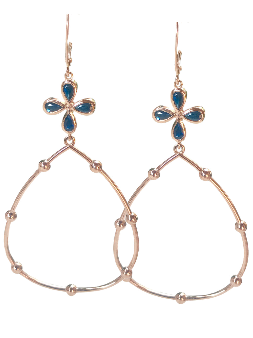 Blue Sapphire Hoop Earrings set in 14k Rose Gold
