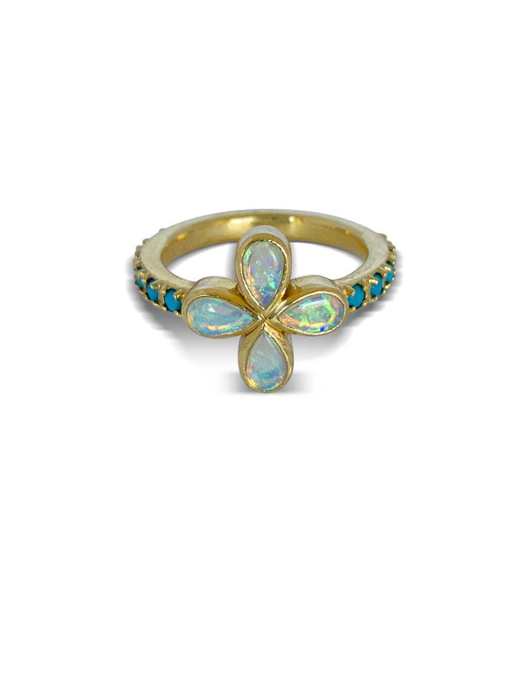 Opal and Turquoise Flower ring