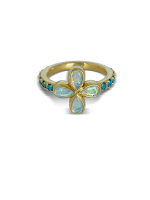 Opal and Turquoise Flower ring- Available for special order