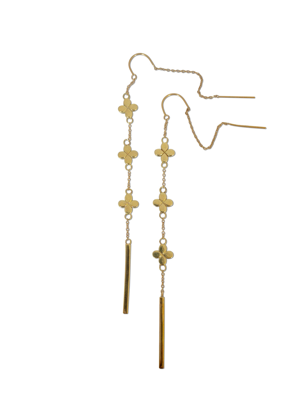 18k Solid Gold Flower Threaders
