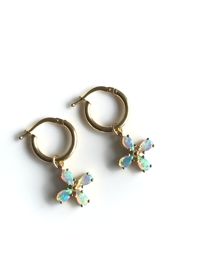 Rose Gold, Opal Flower Hoop Earrings