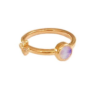 Opal Stacking Ring with Diamond flower set in 18k Rose Gold-SAMPLE SALE!