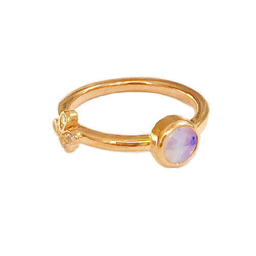 Opal Stacking Ring with Diamond flower set in 18k Rose Gold
