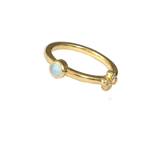 Bright green Australian Opal stacking ring with 1 Oli and Tess diamond flower $1320