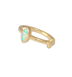 Green Marquis Opal stacking ring with 1 Oli and Tess Diamond Flower