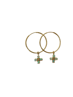 Green opal hoop earrings-available by special order