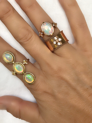 Stunning Opal and Diamond Cocktail Ring hand cast in 18k Rose Gold