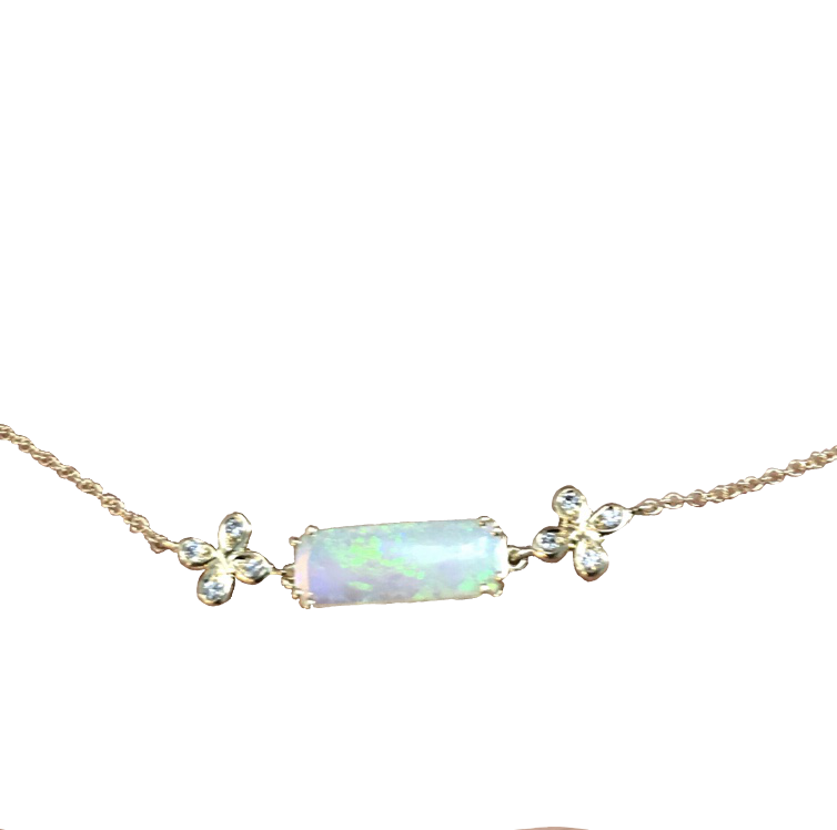 Dainty Opal and Diamond Choker Necklace set in 18k with Diamond accents