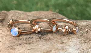 Opal and Diamond stacking ring set in 18k rose gold