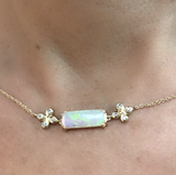SOLD: Dainty Opal and Diamond Choker Necklace set in 18k with Diamond accents