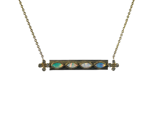 Opal and Diamond Bar Necklace with Diamond accents set in 18k Gold