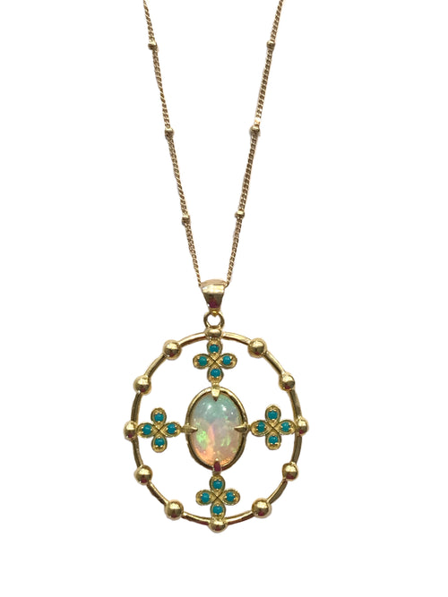 Opal and Turquoise Pendant Necklace