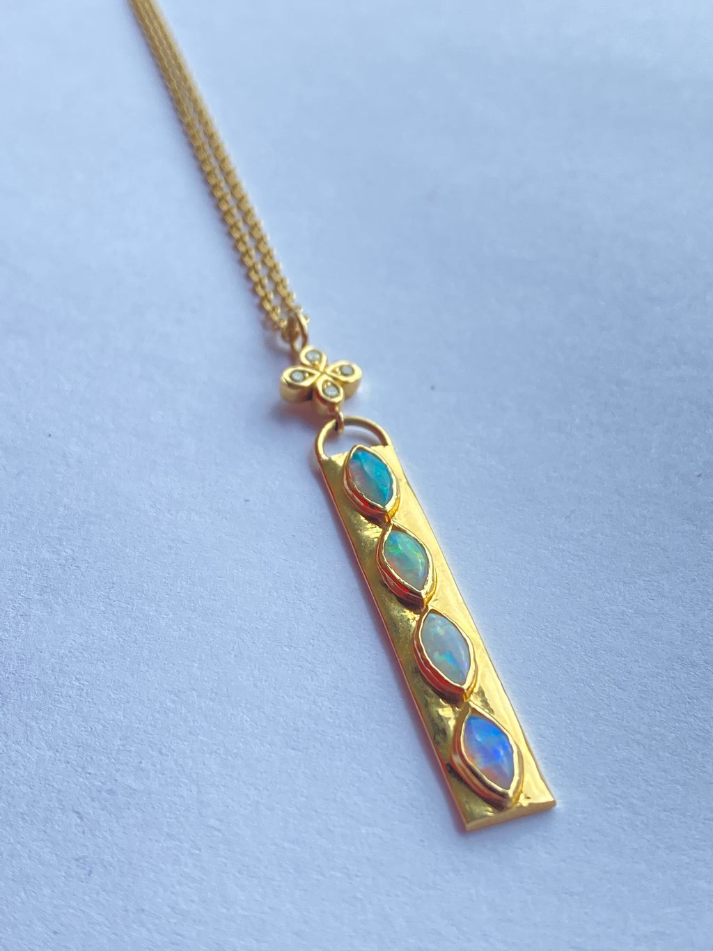 Opal and diamond pendant necklace -IN STOCK