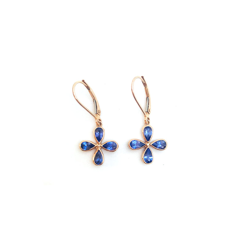 Tanzanite flower earrings set in rose gold