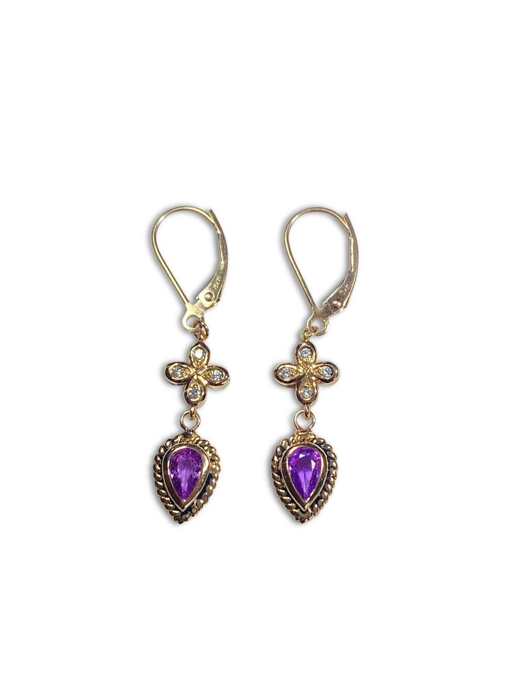 Purple Sapphire Rose Gold Earrings - IN STOCK