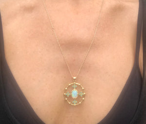 Opal and Turquoise Pendant Necklace -Special Order