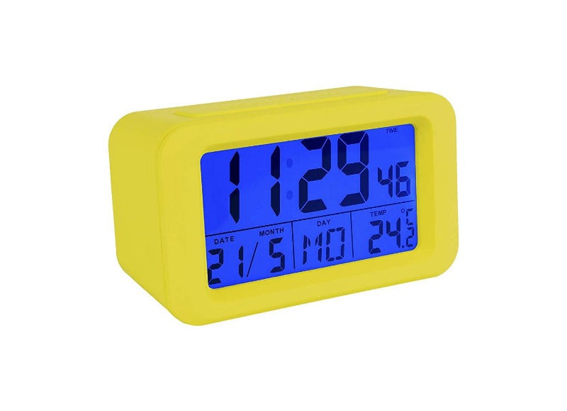 Reloj despertador digital amarillo