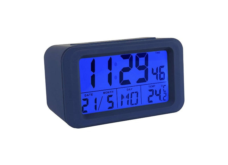 Reloj despertador digital azul