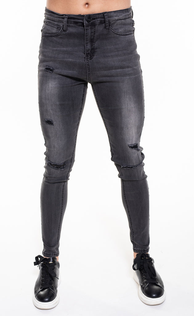SENKO RIPPED & REPAIRED JEANS - GREY