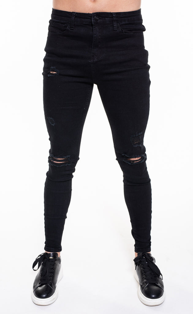 SENKO RIPPED & REPAIRED JEANS - BLACK