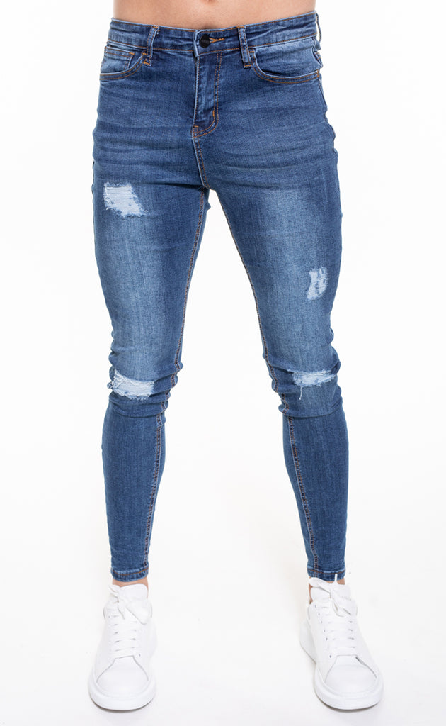 SENKO RIPPED & REPAIRED JEANS - BLUE