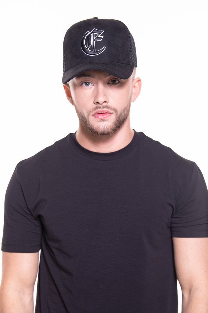 CORE SUEDE TRUCKER CAP - BLACK