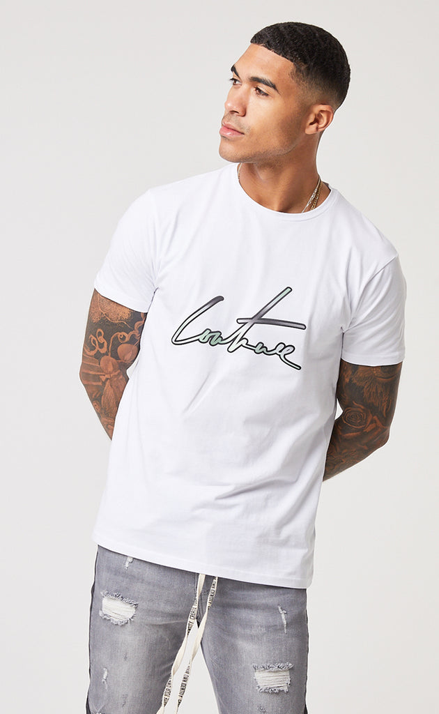 SIGNATURE SS TEE - WHITE/GREEN
