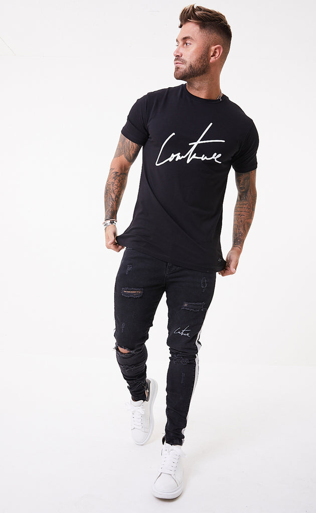 SIGNATURE SS TEE - BLACK/WHITE