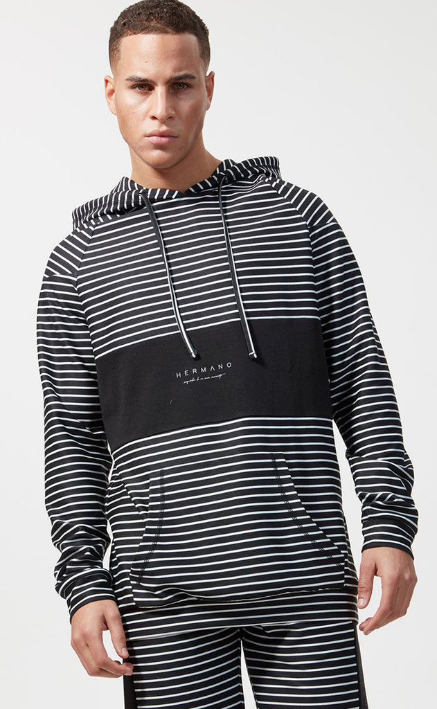 CHEST PANEL PULL OVER JERSEY HOODIE BLACK/WHITE STRIPE