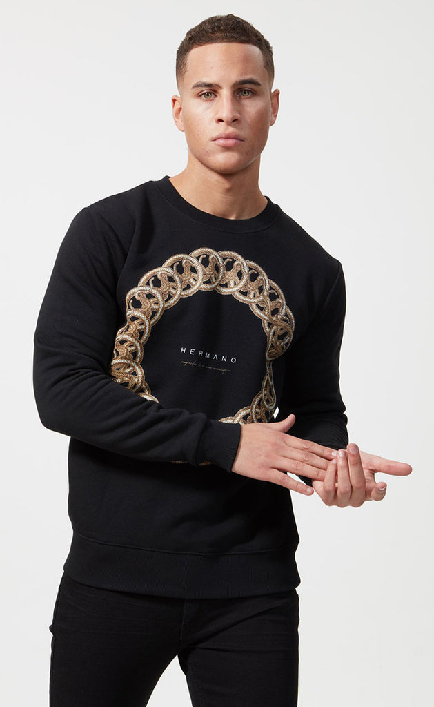 RINGED CREW NECK SWEATSHIRT