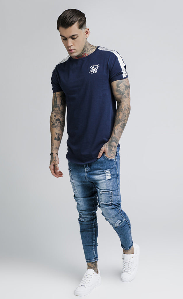 CURVED HEM TAPED GYM TEE - NAVY