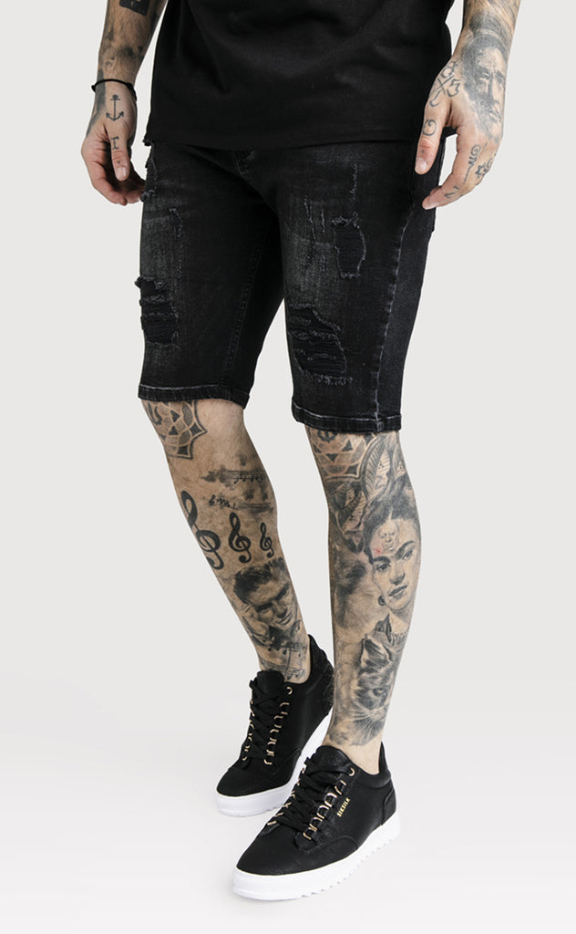 SIKSILK DISTRESSED SKINNY SHORTS - BLACK